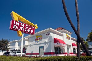 An In-N-Out Burger restaurant at 7009 West Sunset Blvd. in Los Angeles, California, USA